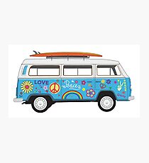 Beach Hippie Van Photographic Print
