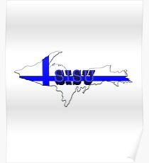 SISU Upper Peninsula UP Finnish Flag - Yooper Finns  Poster