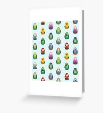 Parrot Nesting Doll Pattern Greeting Card