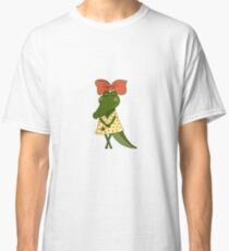 Crocodile girl with closed eyes having flower in her hand Classic T-Shirt