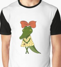 Crocodile girl with closed eyes having flower in her hand Graphic T-Shirt