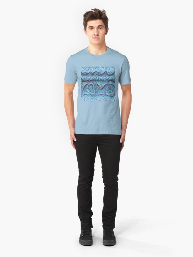 Alternate view of Frozen sea liquid lines and waves #DeepDream Slim Fit T-Shirt