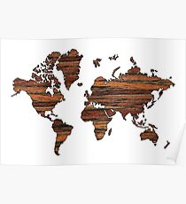 Wooden World Map Poster