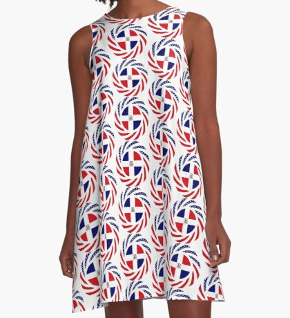 Dominican American Multinational Patriot Flag Series A-Line Dress