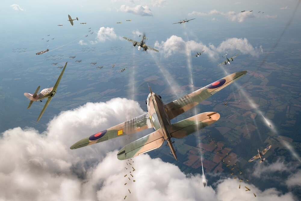 Headlong attack (Hurricanes over Dorset) by Gary Eason