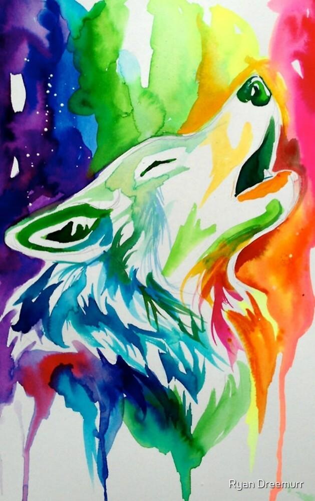 Dripping Watercolour Wolf   by Ryan Dreemurr