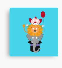 Clown Lion and Elephant Canvas Print