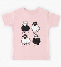 New Zealand four cartoon sheeps having a chat Kids Tee