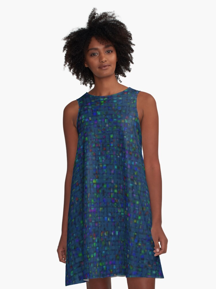 Antique Texture Blue Green A-Line Dress Front