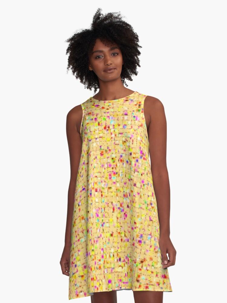 Antique Texture Lemon Yellow A-Line Dress Front