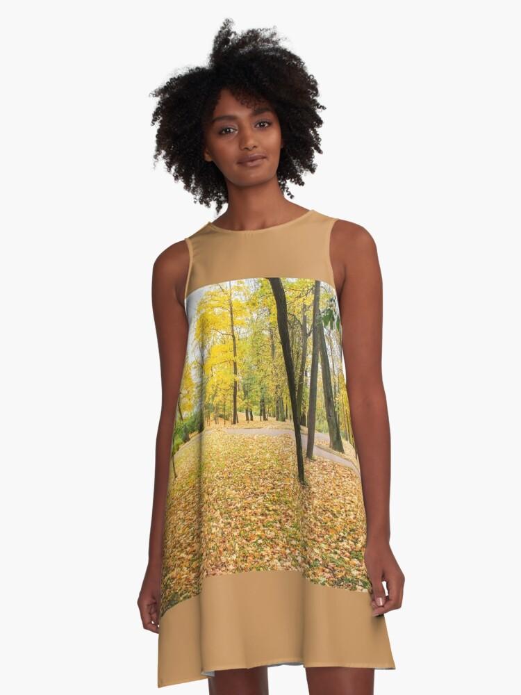 Yellow autumn park. A-Line Dress Front