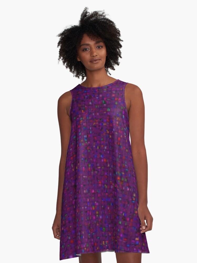 Antique Texture Plum Purple A-Line Dress Front