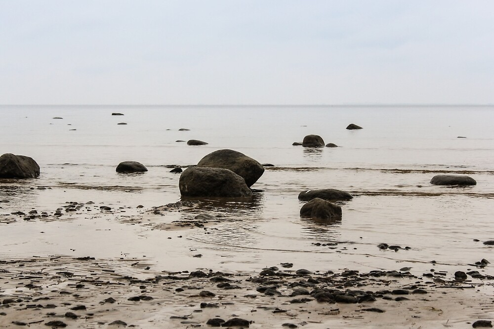 Stones in the water near the shore. by GermanS