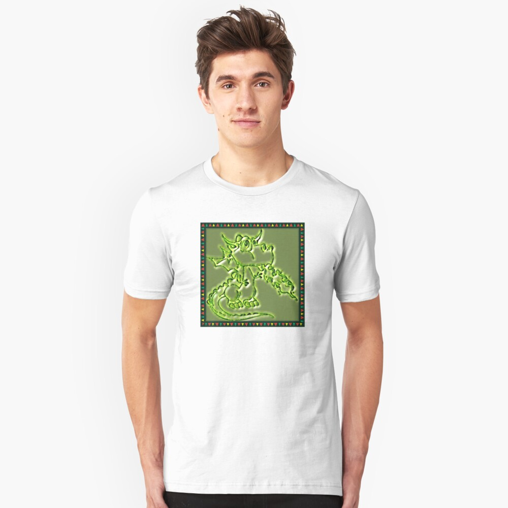 Festive Draco the dragon in green Unisex T-Shirt Front