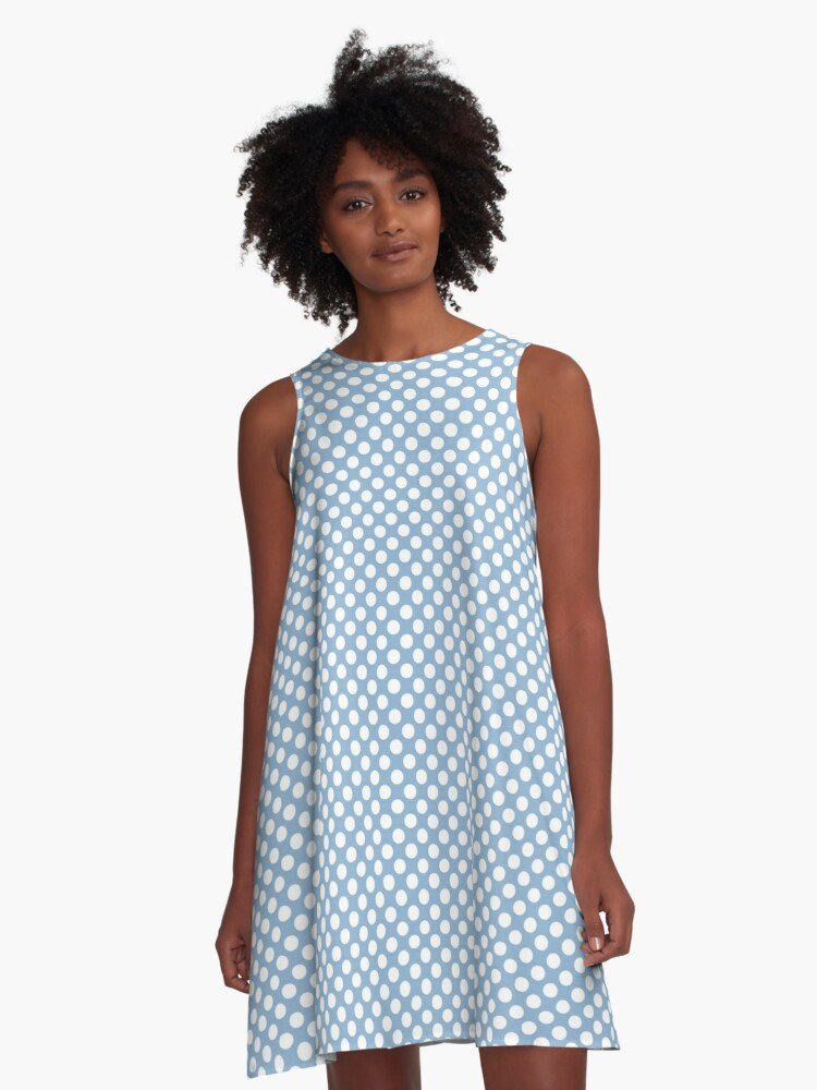 Airy Blue and White Polka Dots A-Line Dress Front