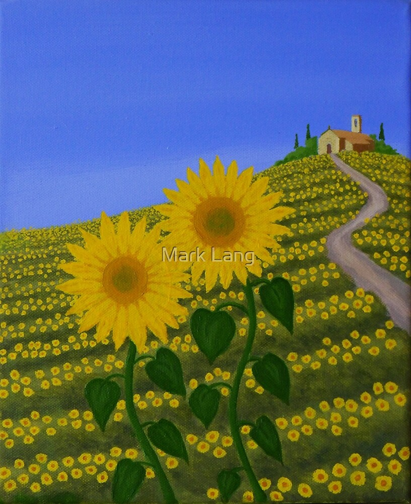 Sunflowers in Umbria. by Mark Lang