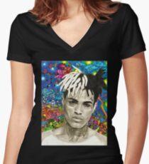 XXXTENTACION FAN ARTWORK Women's Fitted V-Neck T-Shirt