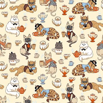 Tea Party with Fancy Cats pattern by maarika
