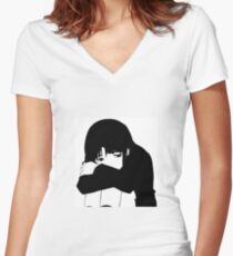 Scared Women's Fitted V-Neck T-Shirt