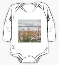 water color,hand painted, landscape,beach and ocean, beautiful,modern, One Piece - Long Sleeve