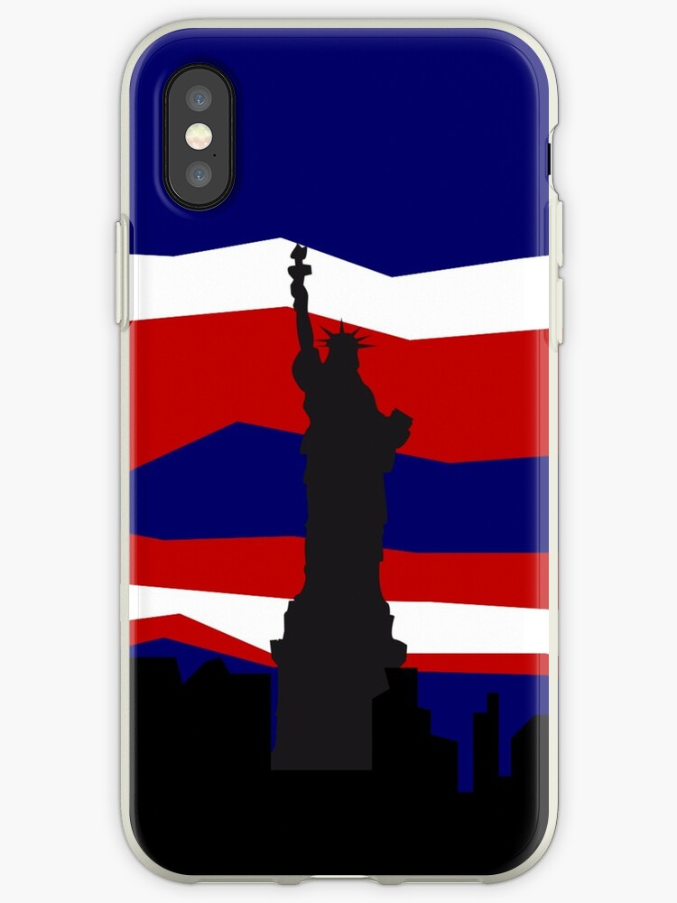 Statue of Liberty - New York Skyline - Red White and Blue - America by tziggles