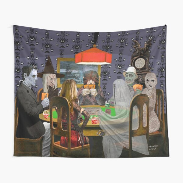 Classic Monsters Not Playing Poker - Playing Halloween Game: Halloweeja Tapestry