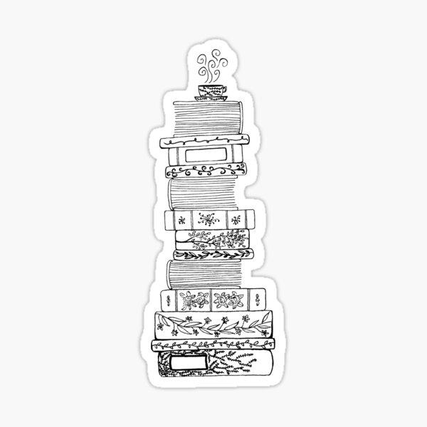 Black and White Filigree Bookstack Sticker