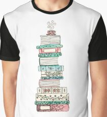 Pink and Blue Floral Bookstack Graphic T-Shirt