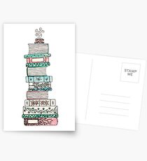 Pink and Blue Floral Bookstack Postcards