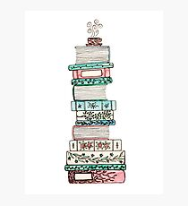 Pink and Blue Floral Bookstack Photographic Print