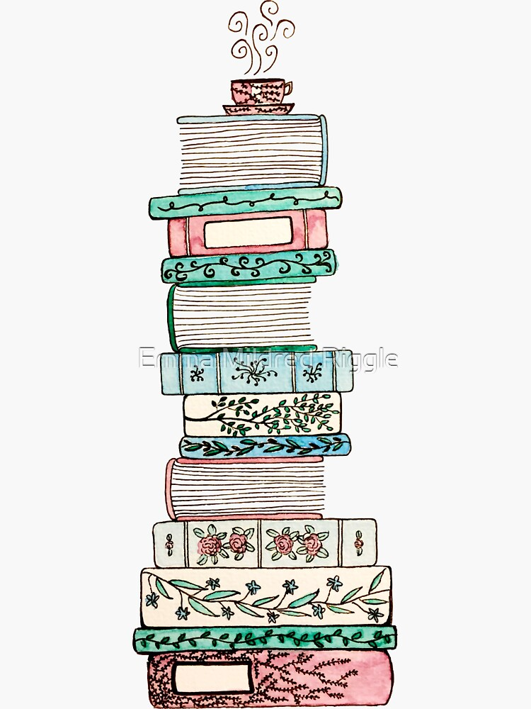 Pink and Blue Floral Bookstack by gentlecounsel