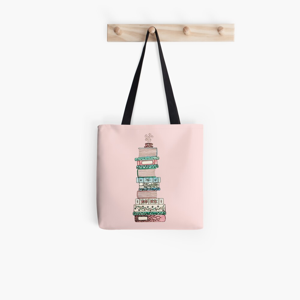 Pink and Blue Floral Bookstack Tote Bag