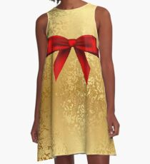 cute,gold,glitter,glam,pattern,with red ribbon, modern,trendy A-Line Dress