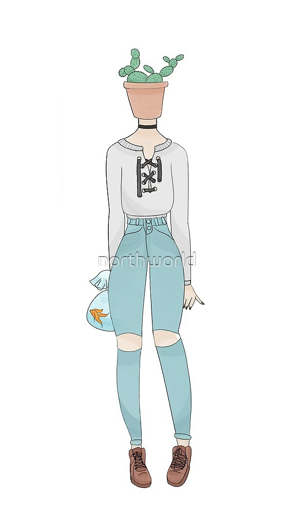 Pot Cactus Head Girl Holding Fish in Bag by northworld