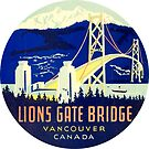 Lions Gate Bridge Vancouver BC Vintage Travel Decal by hilda74