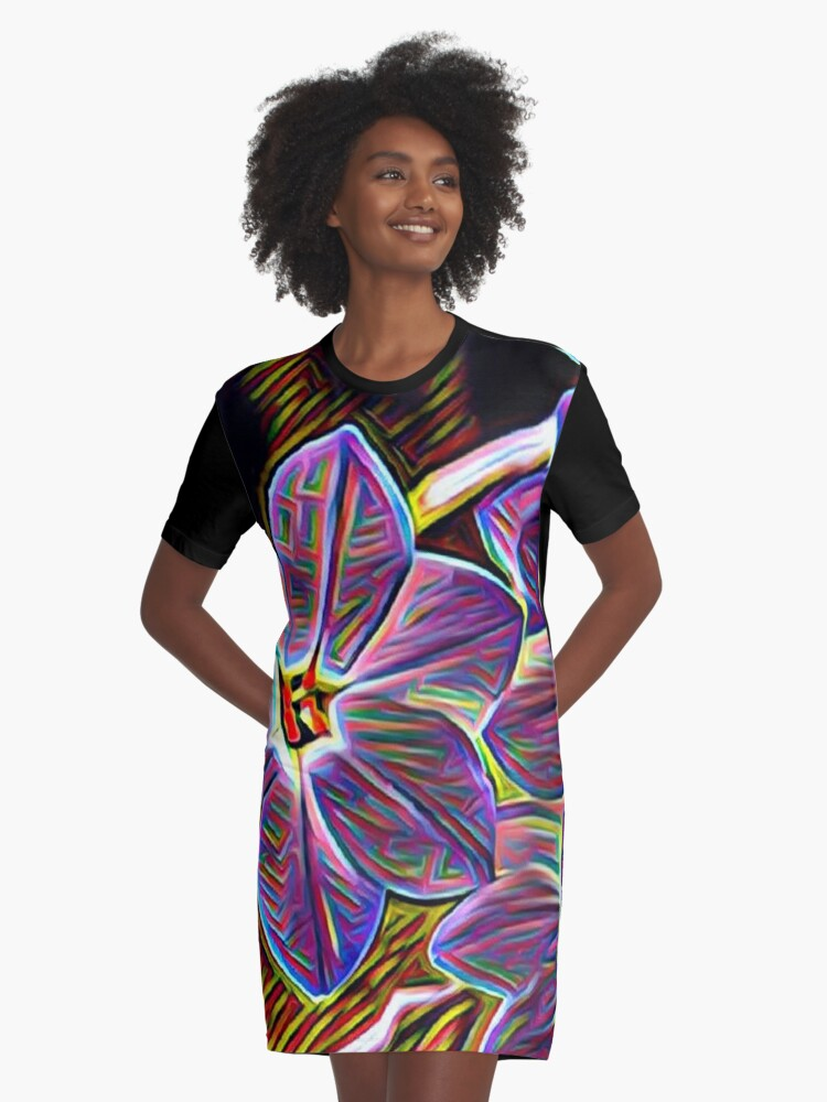 Abstract Purple Flowers Graphic T-Shirt Dress Front