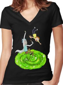 Rick and Morty - Portal Women's Fitted V-Neck T-Shirt