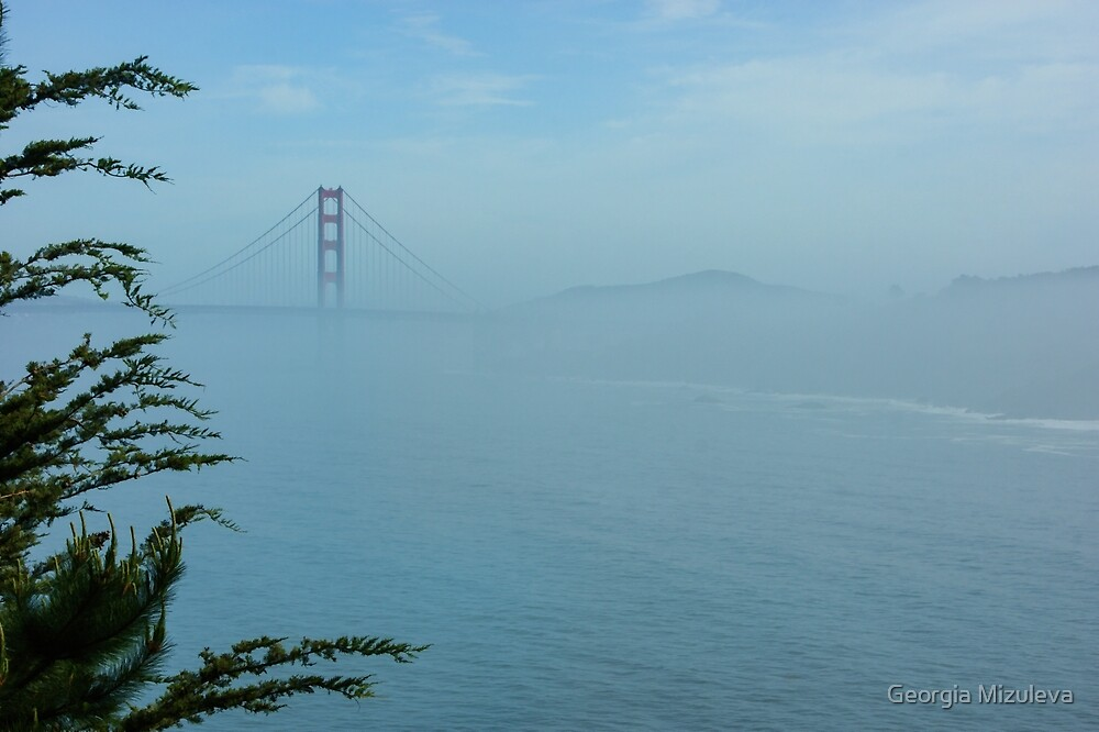 San Francisco Fog - Pale Blue Golden Gate Bridge View by Georgia Mizuleva