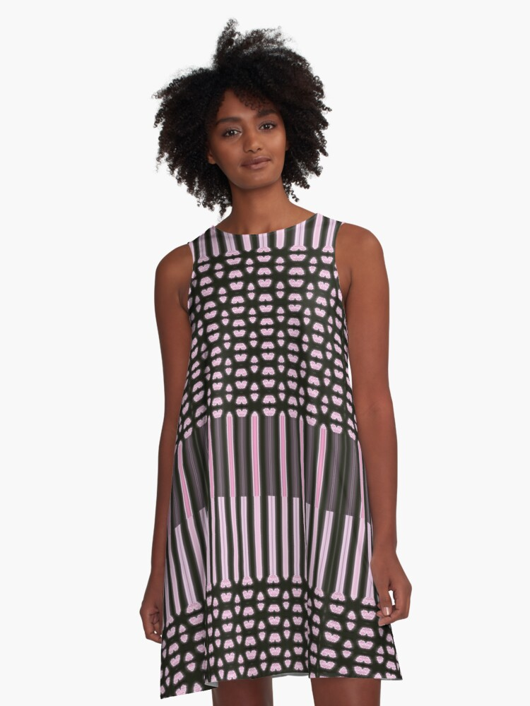Piano Keys Designer A-Line Dress Front