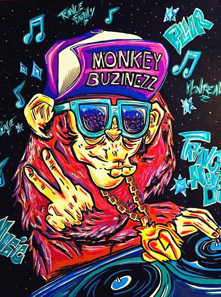 Monkey Buzinezz Art by CindyDeroeuxArt