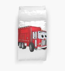 Red Smiling Garbage Truck Cartoon Duvet Cover