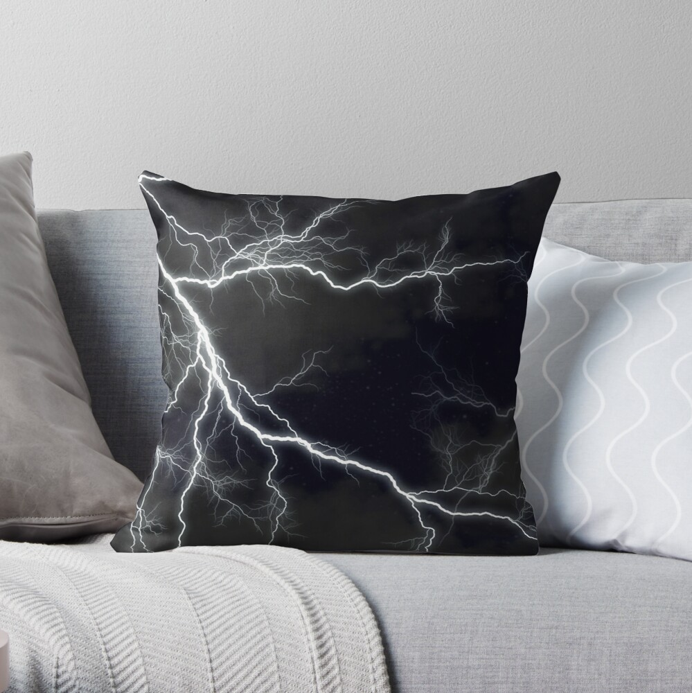 Black Lightning Throw Pillow By Nancyanndesign Redbubble