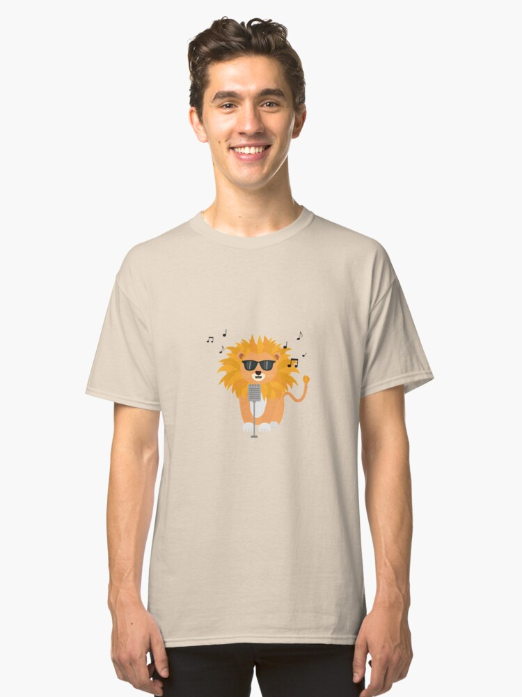Cool music lion Classic T-Shirt Front