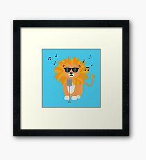 Cool music lion Framed Print