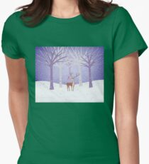 Deer - Squirrel - Winter - Snow - Forest Womens Fitted T-Shirt