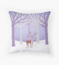 Deer - Squirrel - Winter - Snow - Forest Throw Pillow