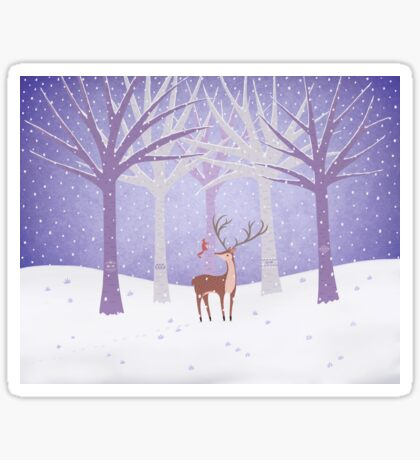 Deer - Squirrel - Winter - Snow - Forest Sticker