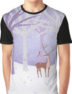 Deer - Squirrel - Winter - Snow - Forest Graphic T-Shirt