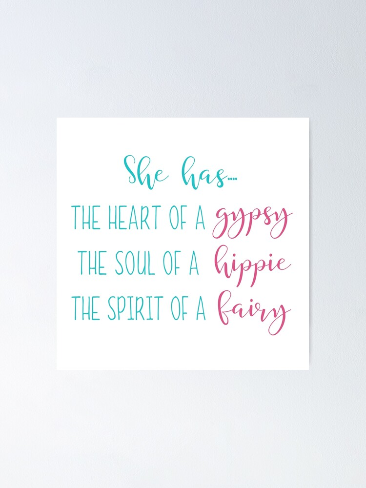 Poster quote Wall Art print gift Home Decor she has the soul of a gypsy