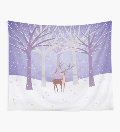 Deer - Squirrel - Winter - Snow - Forest Wall Tapestry